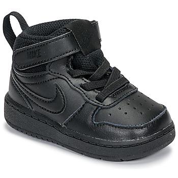 Cipők Gyerek Magas szárú edzőcipők Nike COURT BOROUGH MID 2 TD Fekete