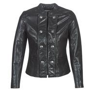Ruhák Női Bőrkabátok / műbőr kabátok Naf Naf CMILI Fekete