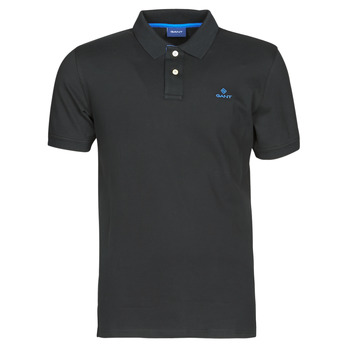 Ruhák Férfi Rövid ujjú galléros pólók Gant GANT CONTRAST COLLAR PIQUE POLO Fekete  / Kék
