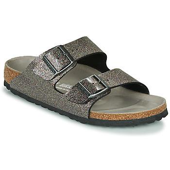 Cipők Női Papucsok Birkenstock ARIZONA Fekete  / Ezüst
