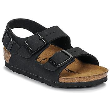 Cipők Fiú Szandálok / Saruk Birkenstock MILANO Nubuk / Fekete