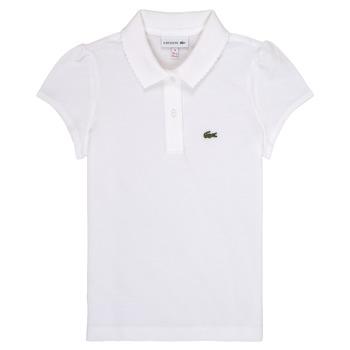 Ruhák Lány Rövid ujjú galléros pólók Lacoste CAYDEN Fehér