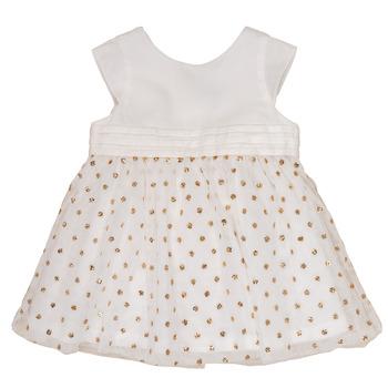 Ruhák Lány Rövid ruhák Petit Bateau FAVORITE Fehér / Arany