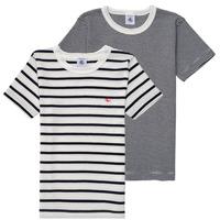 Ruhák Fiú Rövid ujjú pólók Petit Bateau  Fehér / Kék