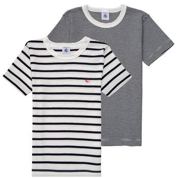 Ruhák Fiú Rövid ujjú pólók Petit Bateau 53333 Fehér / Kék