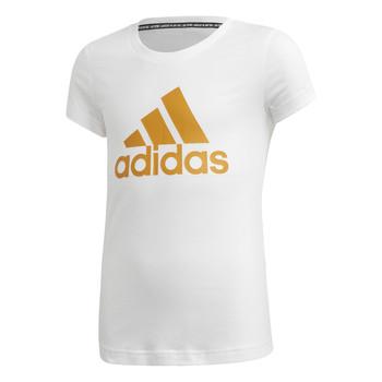 Ruhák Lány Rövid ujjú pólók adidas Performance YG MH BOS TEE Fehér