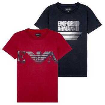 Ruhák Fiú Rövid ujjú pólók Emporio Armani 6H4D22-4J09Z-0353 Fekete  / Piros