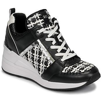 Cipők Női Rövid szárú edzőcipők MICHAEL Michael Kors GEORGIE TRAINER Fekete  / Fehér