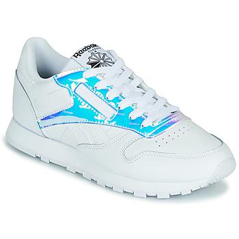 Cipők Női Rövid szárú edzőcipők Reebok Classic CL LTHR Fehér / Irizáló