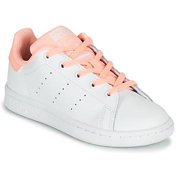 Cipők Lány Rövid szárú edzőcipők adidas Originals STAN SMITH C Fehér / Rózsaszín