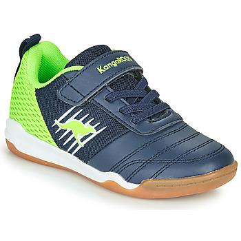 Cipők Fiú Rövid szárú edzőcipők Kangaroos SUPER COURT EV Kék / Zöld