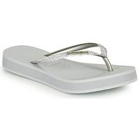 Cipők Női Lábujjközös papucsok Havaianas SLIM FLATFORM GLITTER Ezüst