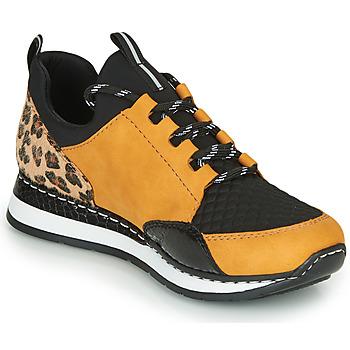 Cipők Női Rövid szárú edzőcipők Rieker N3083-68 Konyak / Fekete