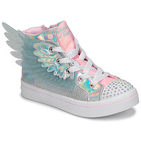 Cipők Lány Magas szárú edzőcipők Skechers TWI-LITES 2.0 Ezüst / Rózsaszín / Led