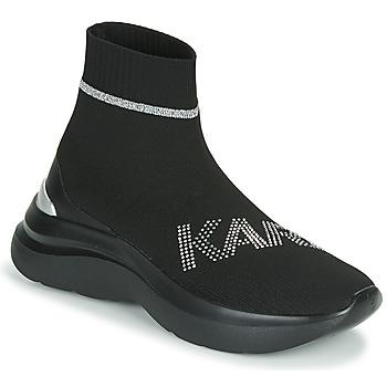 Cipők Női Magas szárú edzőcipők Karl Lagerfeld SKYLINE KARL RHINESTONE PULL ON BT Fekete