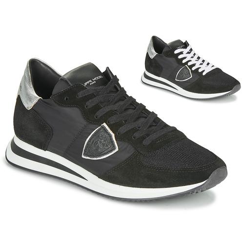 Cipők Női Rövid szárú edzőcipők Philippe Model TROPEZ X BASIC Fekete  / Ezüst