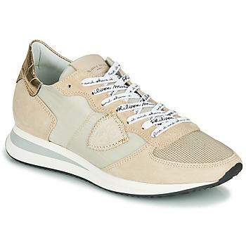 Cipők Női Rövid szárú edzőcipők Philippe Model TROPEZ X MONDIAL CROCO Bézs