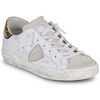 Cipők Női Rövid szárú edzőcipők Philippe Model PARIS X VEAU CROCO Fehér / Arany