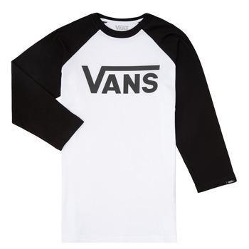 Ruhák Fiú Hosszú ujjú pólók Vans VANS CLASSIC RAGLAN Fekete  / Fehér