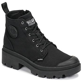 Cipők Női Csizmák Palladium PALLABASE TWILL Fekete
