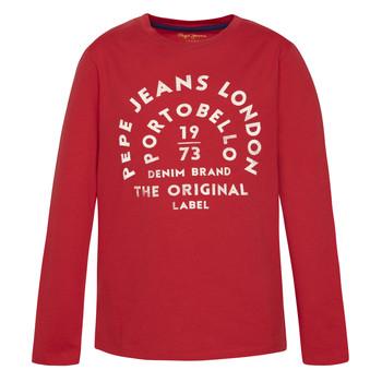 Ruhák Fiú Hosszú ujjú pólók Pepe jeans ANTONI Piros