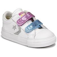 Cipők Lány Rövid szárú edzőcipők Converse STAR PLAYER 2V GLITTER TEXTILE OX Fehér / Kék / Rózsaszín