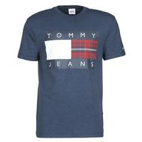Ruhák Férfi Rövid ujjú pólók Tommy Jeans TJM PLAID CENTRE FLAG TEE Tengerész