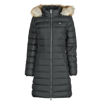 Ruhák Női Steppelt kabátok Tommy Jeans TJW ESSENTIAL HOODED DOWN COAT Fekete