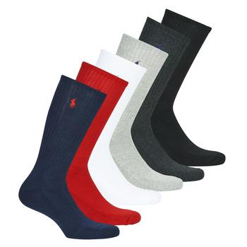 Kiegészítők Férfi High socks Polo Ralph Lauren ASX110 6 PACK COTTON Fekete  / Piros / Tengerész / Szürke / Szürke / Fehér
