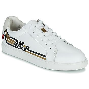 Cipők Női Rövid szárú edzőcipők Bons baisers de Paname SIMONE AMOUR RETRO Fehér / Arany