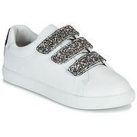Cipők Női Rövid szárú edzőcipők Bons baisers de Paname EDITH GLITTER TONGUE Fehér