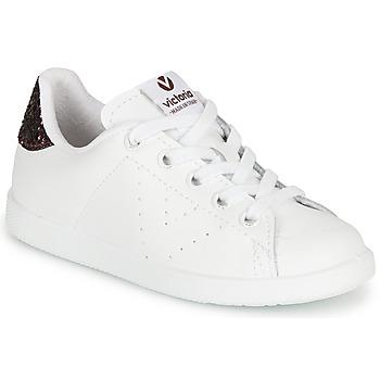 Cipők Lány Rövid szárú edzőcipők Victoria TENIS PIEL Fehér / Bordó