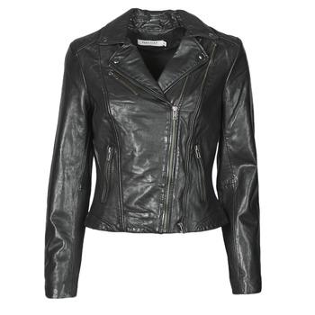 Ruhák Női Bőrkabátok / műbőr kabátok Naf Naf CAMILLA Fekete