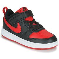 Cipők Gyerek Rövid szárú edzőcipők Nike COURT BOROUGH LOW 2 TD Fekete  / Piros
