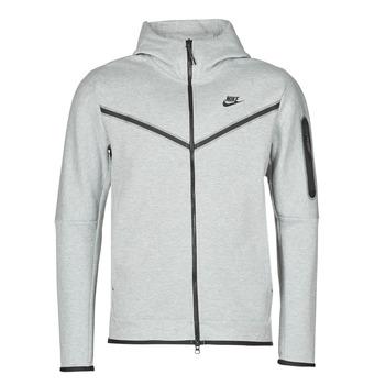 Ruhák Férfi Melegítő kabátok Nike M NSW TCH FLC HOODIE FZ WR Szürke / Fekete