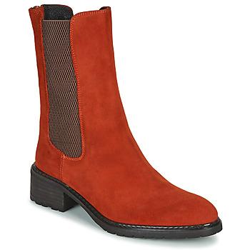 Cipők Női Csizmák Regard DAMGAN V2 VELOURS CHATAIGNE Piros