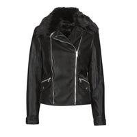 Ruhák Női Bőrkabátok / műbőr kabátok Guess CANTARA Fekete