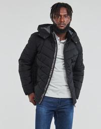 Ruhák Férfi Steppelt kabátok Guess STRETCH PUFFA HOODED Fekete