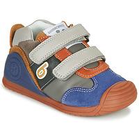 Cipők Fiú Rövid szárú edzőcipők Biomecanics ZAPATO SPORT VELCRO Szürke / Kék / Narancssárga