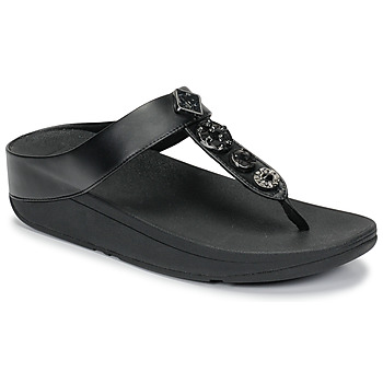 Cipők Női Lábujjközös papucsok FitFlop FINO CIRCLE TOE-THONGS Fekete