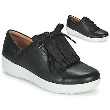 Cipők Női Rövid szárú edzőcipők FitFlop F-SPORTY II LACE UP FRINGE SNEAKERS - LEATHER Fekete