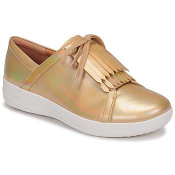 Cipők Női Rövid szárú edzőcipők FitFlop F-SPORTY II LACE UP FRINGE SNEAKERS-IRIDESCENT LTR Arany