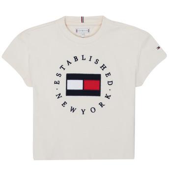 Ruhák Lány Rövid ujjú pólók Tommy Hilfiger KG0KG05503-Z00-J Bézs