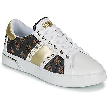 Cipők Női Rövid szárú edzőcipők Guess RICENA Fehér / Barna