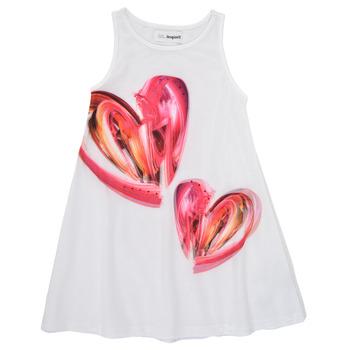 Ruhák Lány Rövid ruhák Desigual 21SGVK12-1000 Fehér