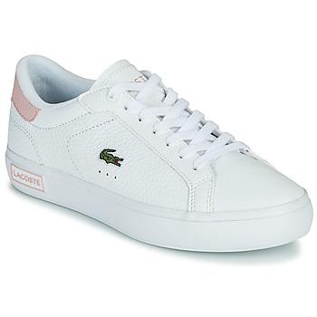 Cipők Női Rövid szárú edzőcipők Lacoste POWERCOURT 0721 2 SFA Fehér / Rózsaszín