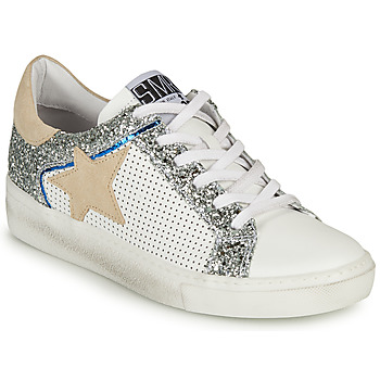 Cipők Női Rövid szárú edzőcipők Semerdjian CARLA Fehér / Ezüst / Bézs