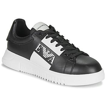 Cipők Férfi Rövid szárú edzőcipők Emporio Armani MALTA Fekete  / Fehér