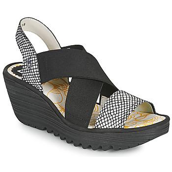 Cipők Női Szandálok / Saruk Fly London YAJI Fekete  / Fehér