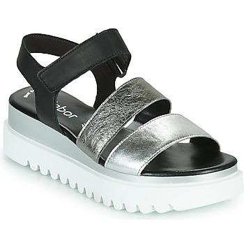 Cipők Női Szandálok / Saruk Gabor 6461061 Fekete  / Fehér / Ezüst